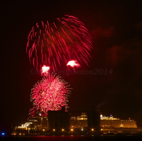 Fireworks at night over Southampton Docks